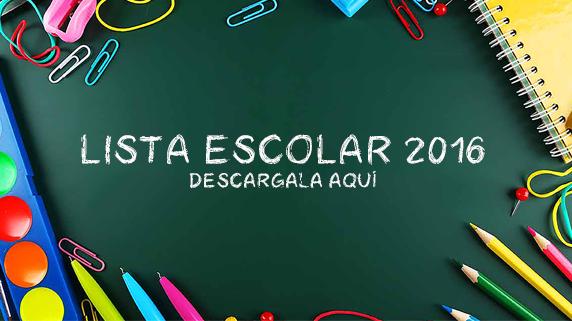 Lista útiles escolares 2016